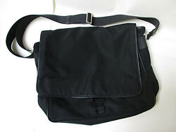 VINTAGE PRADA WOMENSMENS BLACK NYLONLEATHER LARGE MESSENGER TOTE BAG
