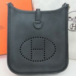 Authentic HERMES Evelyne 16 Amazone Epsom Black Shoulder bag France dust bag box