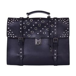 DOLCE & GABBANA Messenger Briefcase Backpack Cross Body Bag w. Studs Black 06270