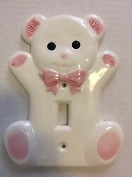 Teddy Bear Baby Girls Room Nursery Ceramic Light Switch Cover Plate Pink White