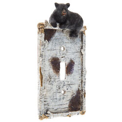 LOT OF 4 Black Bear Cub Light Switch Plate Cover Rustic Log Cabin Home Decor