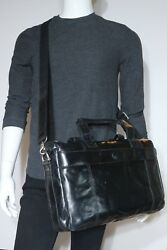 New! Fossil Vintage Leather Top Zip Black Work Bag MBG1244001