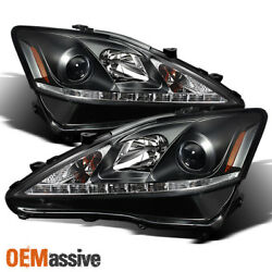 Fits 2006 2013 Lexus IS250 IS350 Black LED DRL Projector Headlights LeftRIght