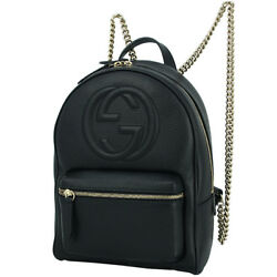 New Auth GUCCI Chain Backpack SOHO Leather Black GHW GG Logo Women Shoulder bag