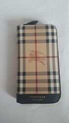 New Burberry Haymarket Check and Leather Ziparound Wallet Women