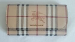 Brand Burberry Haymarket Continental Slim Wallet Check and Leather Camel Women