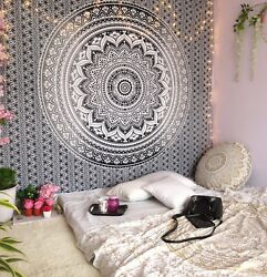 Tapestry Mandala Queen Black amp; White Ombre Indian Wall Hanging Hippie Wall Decor