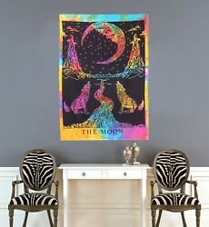 Indian Multi Color Wall Poster The Wolf amp; The Moon Hippie Wall Decor Tapestry