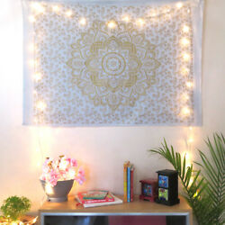 White Golden Wall Hanging Indian Home Decor Hippie Golden Lotus Flower Tapestry