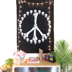 Indian Peace Sign Skull Bones Black White Wall Poster Hippie Wall Decor Tapestry