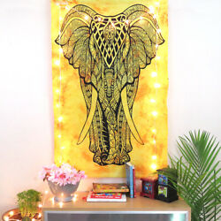 Indian Beautiful Yellow and Black Elephant Hippie Wall Decor Poster Tapestry