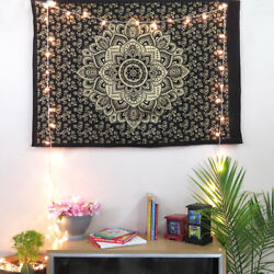 Black Gold Poster Mandala Tapestry Wall Indian Decor Hippie Golden Lotus Flower