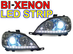 DEPO DRL Style LED Strip Bi-Xenon HID Headlight For 98-01 Mercedes W163 M Class