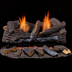 Duluth Forge Ventless Propane Gas Log Set 24 In. Stacked Red Oak Manual Control