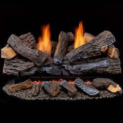 Duluth Forge Ventless Dual Fuel Gas Log Set - 30 In. Stacked Red Oak 33000 Btu