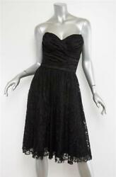 Dolceandgabbana Womens Black Lace Ruched Strapless Cocktail Dress 8-44 New 3150