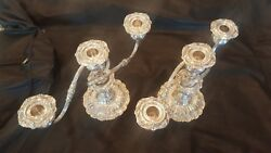 Pair Of Sterling 3 Candle Reed And Barton Francis The 1st. Weighted Candelabras