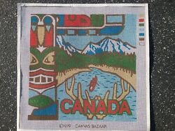 quot;Canadaquot; Vintage from 1979 painted needlepoint canvas 14quot;by 14quot; square