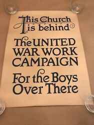 Original Ww1 Poster-this Church Is Behind The United War Work Campaign Wwi World