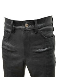 Mens Black Crocodile Print Leather Quilted Design Motorcycle Pants Bikers Jeans