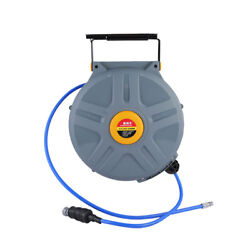 Auto Air Retractable Hose 50Feet (15m) 38 inch Cable Reel Hose Hybrid Polymer