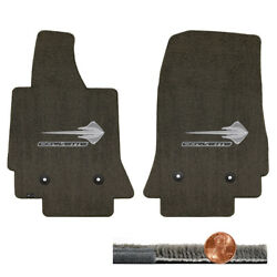 C7 Brownstone Brown Ultimat Front Floor Mats - Silver Stingray And Corvette Logos