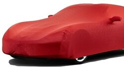 2014+ C7 Corvette Indoor Car Cover Red W Flags Logo Fabric Pattern + Storage Bag