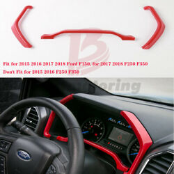 Red ABS Interior Dashboard Instrument Box Cover Trim For Ford F150 2015-2018 3PC