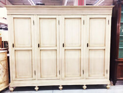 Antique White Lacquered Wardrobe with 4 Doors from Piedmont - Restored