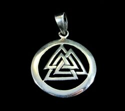 Handcrafted Solid 925 Sterling Silver Norse Viking God Odin Valknut Pendant