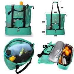 Beach Bag With Cooler Compartment And Zipper 2 In 1 Mesh Tote For Outdoor Travel