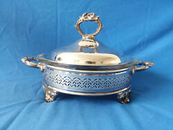 Vintage Silverplate Pyrex Serving Dish 3 Piece Lidded Footed 023 1-1/2 Qt Bowl