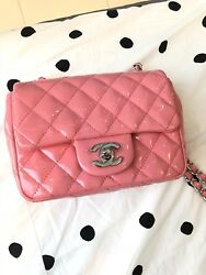 Authentic CHANEL Classic Mini Candy Pink Patent Flap Bag. 2016 Cruise Collection