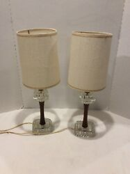 Super Cool Mid Century Boudoir/vanity/table Lamps Wood And Glass W/shades