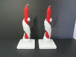 Pair Of Westmoreland Lotus Spiral White Milk Glass Twisted Candle Sticks Holders