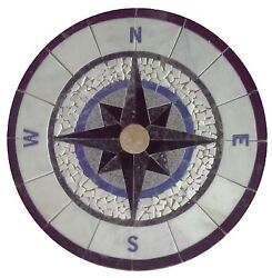 Floor Marble Round Tile Mosaic Medallion Black White Blue Compass Rose 48inches