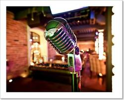Retro Microphone On Stage Art Print Home Decor Wall Art Poster - H