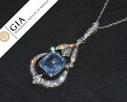 GIA Natural 8.8Cts VS F Diamond No Heat Sapphire 18K Solid Gold Pendant Necklace