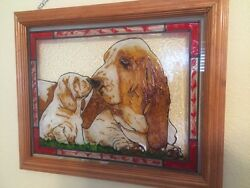 BASSET HOUND Painted Stained Glass by Liz Mom & Pup
