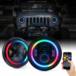 2x 7 RGB LED Projector Headlight Halo Angel Eyes High Low Beam For Jeep Wrangler