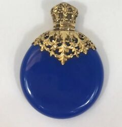 Fine Victorian Royal Blue Glass Scent Bottle 18ct Tested Gold Mount