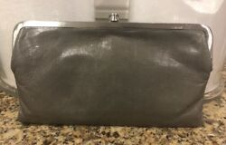 HOBO International Gray Lauren Clutch Wallet Purse Double Frame Kisslock Leather