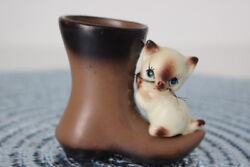 Vintage Lego Ceramic Siamese Cat Kitten In A Boot Shoe Figurine Real Whiskers