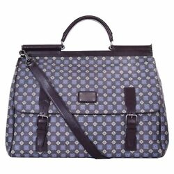 DOLCE & GABBANA Tie Print Leather Travel Bag Weekender SICILY Khaki Brown 06326