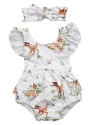 Baby Girl Backless Deer Floral Printed Ruffle Sleeve Sunsuit Romper Outfit $14.99