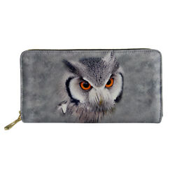 Women Wallet Animal Designs Long Clutch PU Leather Handle Purse Card Money Case