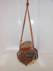 GENUINE LEATHER BALL HAND-CRAFTED BAG GOURD DESIGNER QUALITY UNISEX PURSE