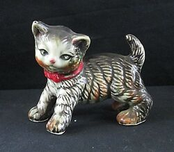 Vintage Ceramic Tabby Cat Kitten Figurine with Red Bow Collar Marked N inside C