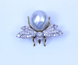 18k Yg Large White Cultured Pearl And 1.02ctw Si1/i Diamond Bee Pin 1.25- 13664