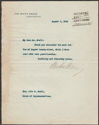 Woodrow Wilson August 1916 Typed Signed Letter On White House Stationary Wlm6512